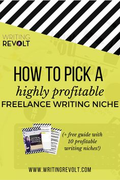 Picking a profitable freelance writing niche can mean the difference between going broke and making tons of cash. Learn how to do it here! That way, you can make money writing online. (BTW, this post is GREAT for anyone who wants to know how to start free Make Money Writing, Writing Advice, Writing Resources, How To Make Money, Write Online, Freelance Writing Jobs, Work From Home Moms, Copywriting, Online Jobs