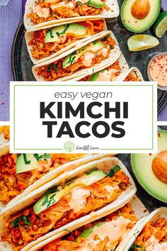 Tempeh Kimchi Tacos (Vegetarian) Looking for an easy, Asian-inspired taco recipe sure to please your tastebuds and leave your stomach feeling nice and full? These Kimchi Tempeh Tacos will do just that. Vegan Dinner Recipes, Delicious Vegan Recipes, Vegan Dinners, Lunch Recipes, Vegetarian Recipes, Healthy Recipes, Vegan Vegetarian, Healthy Tacos, Dinner Healthy