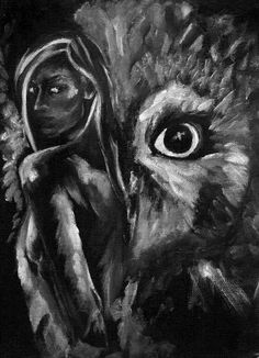 BlodeuweddORIGINAL PAINTING art black and white by jeffcoatart, $125.00