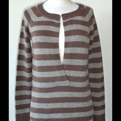 Gorgeous Cashmere Sweater. NWOT Grey and brown striped 100% cashmere sweater. Pull over. Front kangaroo pocket. Theory Sweaters