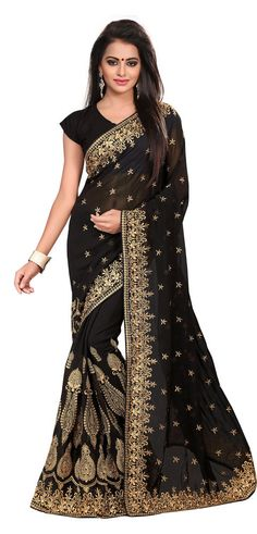 This #wedding #saree is designed on #georgette and is paired with alluring black colored georgette #blouse.