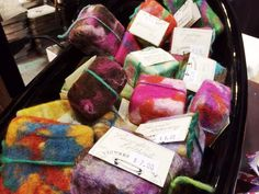 Felted soaps made by Kathleen Houghton, Pioneer Natural Soaps. Felted Soap, Holiday Market, Comfort And Joy, Natural Soaps, Long Winter, Soap Making, Gift Guide, Gifts, Presents