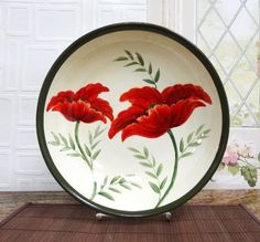"""Tuscany Floral Poppy Hand Painted, Serving Pasta Bowl Salad Fruit 13-1/2""""W, 84799 by ACK ACK http://www.amazon.com/dp/B00K7KF9GS/ref=cm_sw_r_pi_dp_mhVywb1WTYE1Q"""