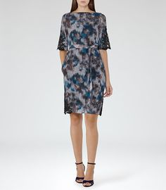 REISS - ARDANT LACE-DETAIL PRINTED DRESS