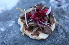 Gakko with souvas and lingonberries....Nordic Kebab