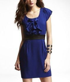 Fantasia blue ruffle front dress from Express. I love this color! And it's on sale for $55!