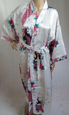 White Silk LONG Bathrobe, House coat, kimono, dressing gown personalised custom bridesmaid bride mother of the bride