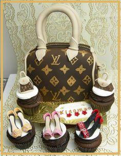Louis Vuitton handbag cake and cupcakes