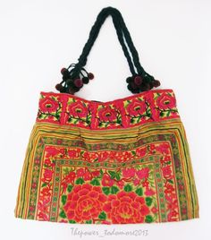 NEW WOMENS MULTICOLOUR FESTIVAL HIPPY BOHO HMONG TOTE SHOULDER BAG