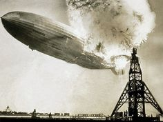 The Hindenburg - May 6, 1937 - Lakehurst Naval Air Station, located adjacent to the borough of Lakehurst, New Jersey. Heavy publicity about the first transatlantic passenger flight of the year by Zeppelin to the U.S. attracted a large number of journalists to the landing. (The airship had already made one round trip from Germany to Brazil that year.)