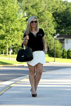 White Asymmetric Shorts - Zara, Black Top - TJ Maxx