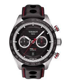 The @tissot PRS 516 features a new, self-winding caliber, the ETA A05.H31, which holds an impressive 60 hours of power reserve; the black ceramic bezel is also new to the Tissot PRS 516 collection. (Available: Fall 2015) More information, at: http://www.watchtime.com/featured/borrowed-time-reviewing-the-new-tissot-pr-516-at-indianapolis-motor-speedway/  #tissot #watchtime #chronograph