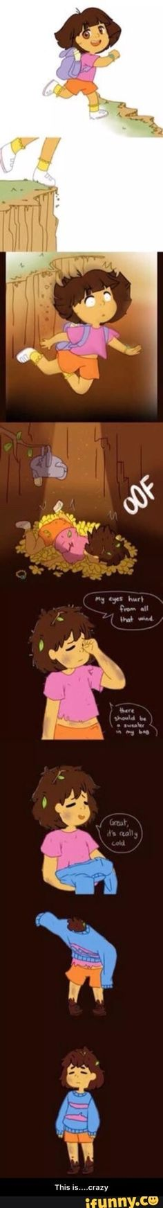 Well that explains why Frisk looks Dora. Frisk IS Dora! Undertale Memes, Undertale Cute, Undertale Fanart, Undertale Comic, Frisk, 4 Panel Life, Mini Comic, Underswap, Totoro