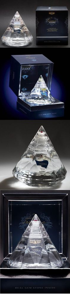 Precious #Vodka comes with a real gemstone in every diamond shaped bottle. Awesome #packaging PD #NationalVodkaDay