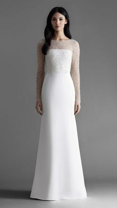 Long sleeve embellished wedding dress Alexa bridal gown by Allison Webb. This is an elegant dress. The embellishment draws the attention to the rest of the dress. I wonder what kind of material it is. Simple Wedding Gowns, Western Wedding Dresses, Minimalist Wedding Dresses, Classic Wedding Dress, Long Wedding Dresses, Modest Wedding, Princess Wedding Dresses, Vintage Wedding Gowns, Wedding Gown A Line