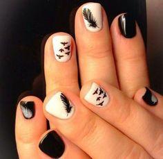 White and black nail designs nails inspiration red white and black nail art designs Feather Nail Designs, Feather Nail Art, Short Nail Designs, Cool Nail Designs, Bird Nail Art, Feather Design, Spring Nail Art, Spring Nails, Acrylic Nail Art