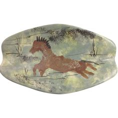 Signed Marc Bellaire California Pottery Horse Tray / Ashtray
