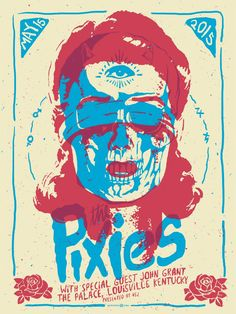 This 3 color poster was screen printed on heavy cream paper with acrylic inks for The Pixies. It was for Their show at the Palace Theatre in Louisville, KY in May 2015 Poster Design, Graphic Design Posters, Graphic Design Inspiration, Graphic Art, Daily Inspiration, Flyer Design, Rock Posters, Band Posters, Color Posters