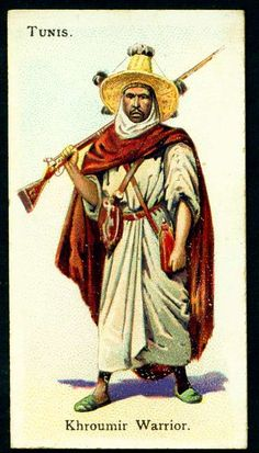 """Tunisian Khroumir Warrior - Wills's Cigarettes - """"Soldiers of the World"""" - Military Units, Military Art, Army History, Army Uniform, Collector Cards, African History, Ancient Civilizations, Character Design Inspiration, Character Illustration"""