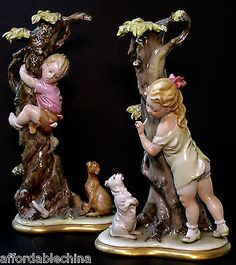 Capodimonte Porcelain Figurines Boy And Girl Musicians