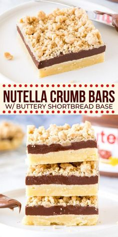 With a buttery shortbread base, a thick layer of Nutella in the middle, and crumble topping - these Nutella bars are irresistible. from Just So Tasty Nutella Bar, Nutella Sandwich, Nutella Cookies, Nutella Deserts, Nutella Slice, Easy No Bake Desserts, No Bake Treats, Delicious Desserts, Yummy Food