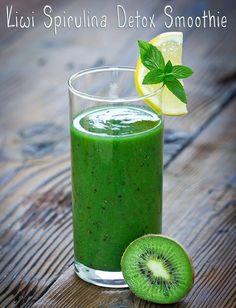 Kiwi Spirulina Detox Smoothie http://www.recipes-fitness.com/kiwi-spirulina-detox-smoothie/