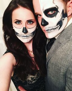 Couple costume ideas Half skull makeup   #skull #halloween #dressy #diy #facepaint #halloweenideas #halloweencostumes