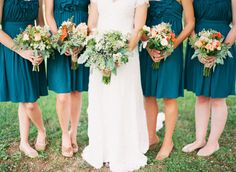 Bridesmaids-I like the nude flats for the bridesmaids as well as the color of the dresses