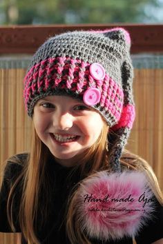 Crochet with love - Hand made Ája: Skřítková čepička made by Ája Crochet For Kids, Crochet Baby, Hat Crochet, New Year Poem, Girl With Hat, Beanie Hats, Headpiece, Crochet Projects, Winter Hats