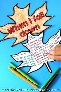 "A fun, engaging Fall Classroom Craft where students write or draw about what they do when the ""fall down"" and make a mistake. Help students reflect on how to respond to their mistakes and build empathy for each other and themselves. Cut out a large tree and create an Autumn bulletin board with all of your kid's leaves! Great Fall classroom decor. #fallleaves #growthmindset #classroomcraft #fallclassroomdecore"