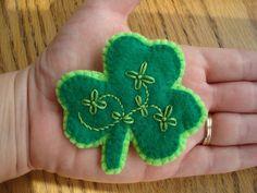 felt shamrock with flower embroidery <3