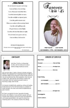 How To Create A Memorial Invitation For Your Fatheru0027s Funeral  Memorial Card Template Word