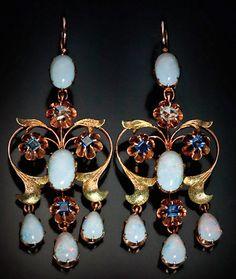 ART NOUVEAU Elegant Girandole Opal Earrings, jeweler's initials 'MA' St. Petersburg, Russia, 1908-1917. 56 zolotniks gold (14K-583), diamonds, sapphires, opals.