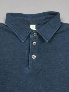Pure Blue Japan Indigo Knit Polo Shirt