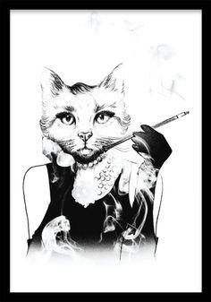 Affisch med motiv av en katt med kvinnokropp i Audrey Hepburn-anda. Gör en snygg tavelvägg med våra svartvita affischer och planscher. Svartvita posters och prints med illustrationer.