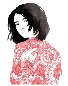 Tattooed Ladies (red): lovely ink on watercolor paper drawings by Stasia Burrington