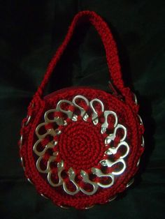 Pop tab crochet purse