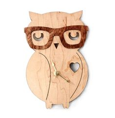Nerd Owl Clock  Handmade  laser cut by UnpossibleCuts on Etsy, $44.95