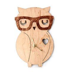 Nerd Owl Clock Handmade laser cut by UnpossibleCuts on Etsy, $44.95