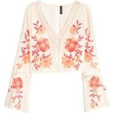 Blouse with Trumpet Sleeves $34.99 ($35) ❤ liked on Polyvore featuring tops, blouses, long tops, short sleeve tops, flower print blouse, long blouse and pink tops