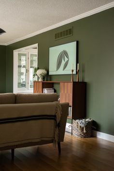 The midcentury media console pops off the forest green paint color! Living Room Green, Living Room Paint, Living Room Furniture, Living Rooms, Forest Green Bedrooms, Bedroom Green, Bedroom Paint Colors, Room Colors, Cabin Paint Colors