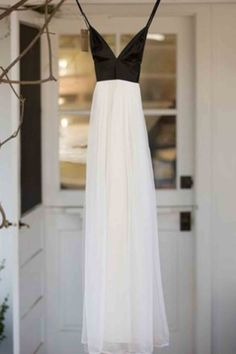 Simple black top white tulle prom dress, ball gown, long prom dress with straps