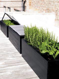 Build stylish flower boxes with a tacker - Diy Garden Box Ideas Plants For Raised Beds, Raised Garden Beds, Garden Boxes, Herb Garden, Diy Garden, Terrace Garden, Vegetable Garden, Back Gardens, Outdoor Gardens