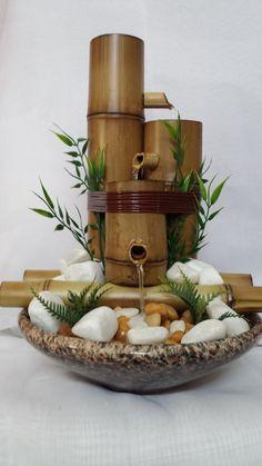 Home Fountain, Diy Fountain, Bamboo Planter, Bamboo Lamp, Diy Garden Fountains, Indoor Water Fountains, Bamboo Crafts, Wood Crafts, Feng Shui