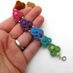 Rainbow Bracelet Soutache Colorful Cuff Soutache by StudioGianna Soutache Bracelet, Soutache Jewelry, Beaded Jewelry, Handmade Jewelry, Beaded Necklace, Jewellery, Long Tassel Earrings, Clip On Earrings, Ribbon Jewelry