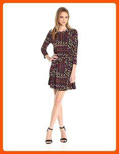 BCBGeneration Women's Printed a-Line 3/4 Slv Dress, Black/Multi, Large - All about women (*Amazon Partner-Link)