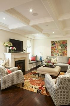Like The Warm Tones And Splashes Of Color Plus Ivory Cream Wall Paint,  Coffered Ceiling, Silver Grey Mushroom Linen Ottoman With Nailhead Trim, ...