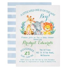 Shop Boy's Safari Animals Baby Shower Invitation created by figtreedesign. Personalize it with photos & text or purchase as is! Safari Invitations, Custom Baby Shower Invitations, Baby Shower Invitation Cards, Invites, Oh Deer, Safari Animals, Baby Animals, Pet Gifts, Baby Boy Shower