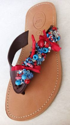 Handmade Brown leather sandals decorated with pearls designed by Elli lyraraki