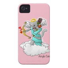 Valentine's Day Smokey Grey Cupid Cat iPhone 4 Case - valentines day gifts love couple diy personalize for her for him girlfriend boyfriend